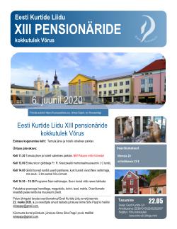 Võru pensionäride kokkutuleku infoplakat